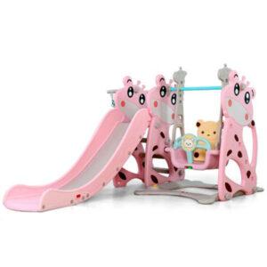 Пързалка за деца Miki с люлка и баскетболен кош 172см